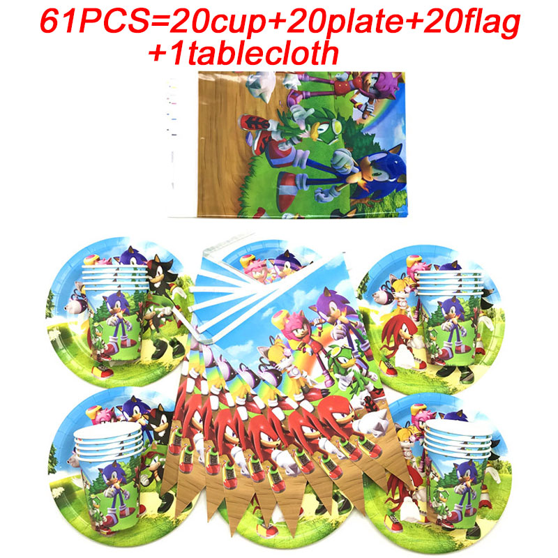 Sonic The Hedgehog Birthday Decor Supplies Paper Plates Cup Tablecloth Sonic Banner Flags Sonic The Hedgehog Party Set 61pcs Set Disposable Party Tableware Aliexpress