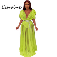 Echoine Sexy Sheer Mesh Long Dress Open Up Deep V-neck See Through Backless Solid Color Dresses Woman Party Night Vstidos