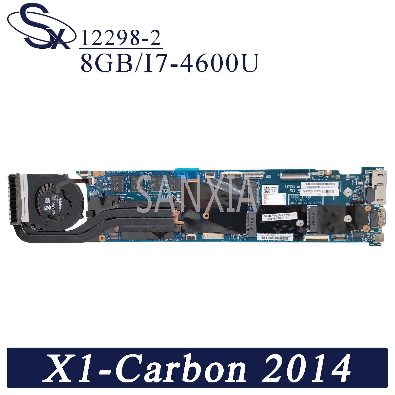 KEFU 12298-2 Laptop motherboard for Lenovo Thinkpad X1-Carbon 2014 original mainboard 8GB-RAM <font><b>I7</b></font>-<font><b>4600U</b></font> image