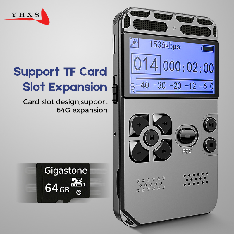 Portable HD Studio Digital Audio Sound Voice Recorder Dictaphone WAV MP3 Player Recording Pen 50m Noise Reduction Support 64G