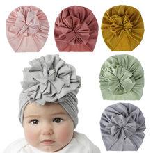 Neue Blume Baby Mädchen Turban Hüte Mode Kinder Motorhaube Kappen Kinder Foto Requisiten Neugeborenen Headwear Hause Haar Zubehör