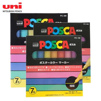 7-kolor światła UNI PC-3M POSCA POP plakat długopis reklamowy piękne pisanie na bazie wody Marker okrągłe głowy Graffiti zestaw tanie i dobre opinie 7 kolorów pc-1m 3m 5m 7 kolorów w pudełku Markery do malowania