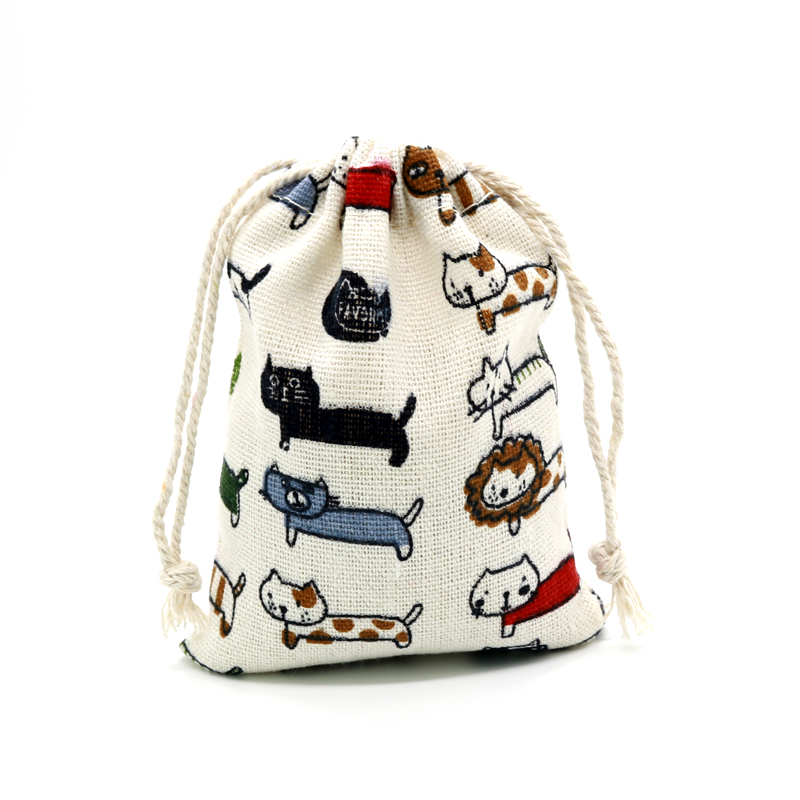 5pcs/lot 8x10cm Mini Drawable Cotton Jewelry Bags Colorful Cat Printed Party Candy Packaging Bags Dry Cotton Storage Pouches