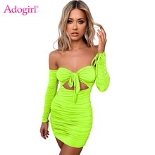 Adogirl Fluorescent Solid Ruched Bandage Dress Front Tie Hollow Out Strapless Off Shoulder Long Sleeve Autumn Mini Bodycon