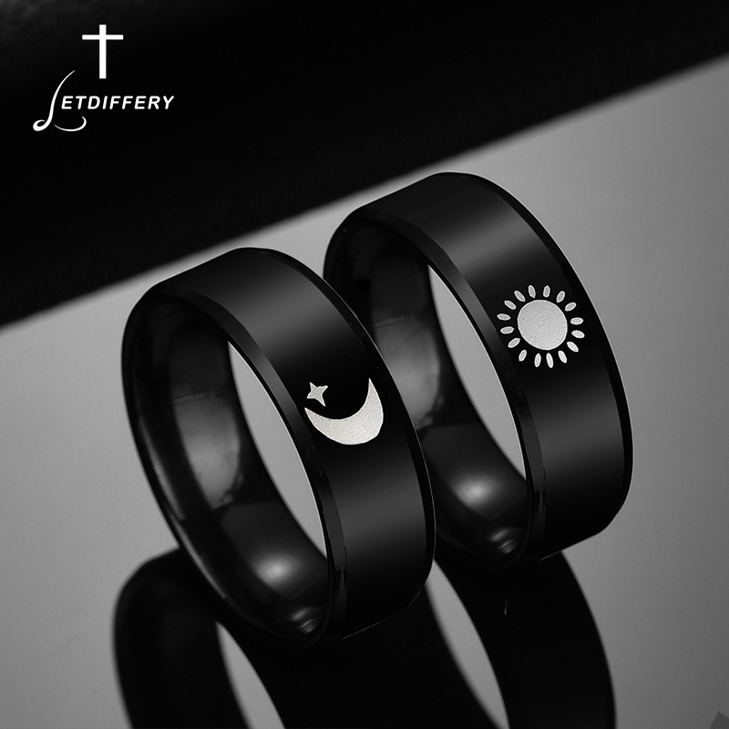 Letdiffery Simple Moon Sun Couple Rings for Lover's Black Stainless Steel Women Men Wedding Ring Valentine's Day Gifts