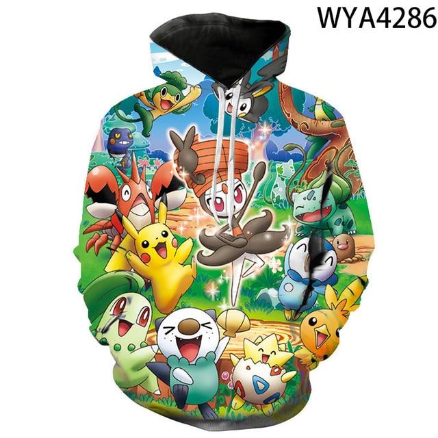 2020 new animated 3D printed hoodies men women children fashion hoodies pokemon boys girls kids sweatshirts street clothing 6