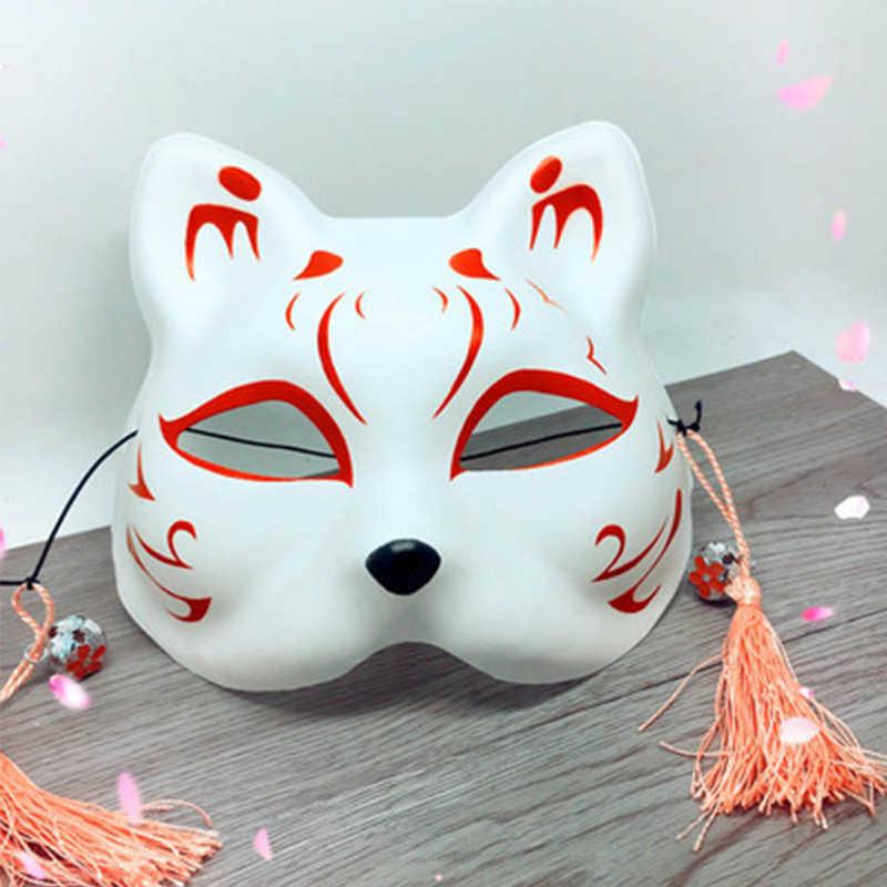 Kostum Masker Gaya Jepang Setengah Wajah Topeng Anime Rubah Kucing Mascara dengan Jumbai Lonceng untuk Komik Festival Pesta Kostum
