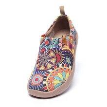 UIN çiçeği sneakers Casual Flats kadın moda çiçek sanat boyalı tuval Slip-On bayanlar konfor seyahat ayakkabısı