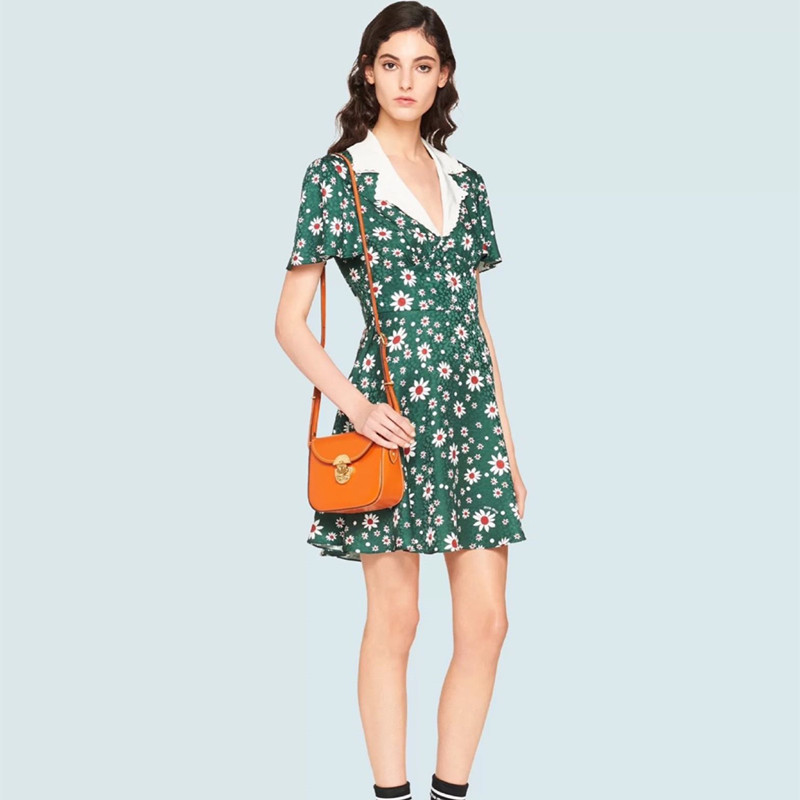 Prairie Chic Green Floral Dress 2020 Spring Summer Notched Collar Short Sleeve Daisy Print Fit Flare Knee-Length Women Dress image