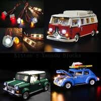LED Technic Car Mini Cooper T1 Camper Van Light Group City Retro Toy Vehicles Compatible Creators Car Building Blocks Toys Gifts