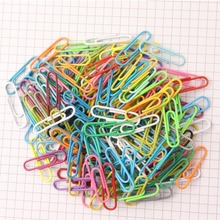 200PCS color coated plastic paper clips 28MM desktop storage finishing supplies