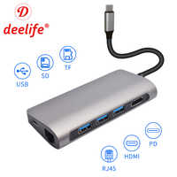 Deelife USB Type C HUB HDMI USB 3.1 type-c HUB vers RJ45 lecteur de carte Multi USB 3.0 adaptateur pour MacBook Pro Dock répartiteur USBC