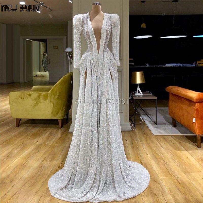 Arabie saoudite profonde col en V robes De soirée 2020 Robe De soirée sur mesure longue Robe De bal pour dubaï Aibye femmes Robe De soirée caftan