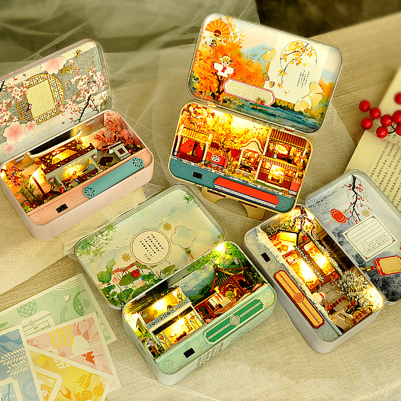 DIY Box Dollhouse Model Miniature Doll House Assemble Kits 3D Puzzle Furnitures House Toy For Children Xmas Birthday Gift