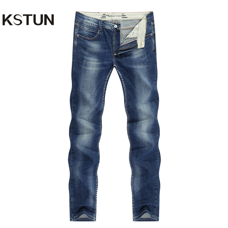 KSTUN Men's Jeans Classic Direct Stretch Dark Blue Business Casual Denim Pants Slim Straight Long Trousers Gentleman Cowboys 38