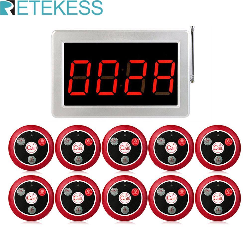 Retekess беспроводная система официанта ресторанная пейджер Голосовая трансляция хост + 10 кнопок вызова для крючка бара офиса кафе Обслуживани...