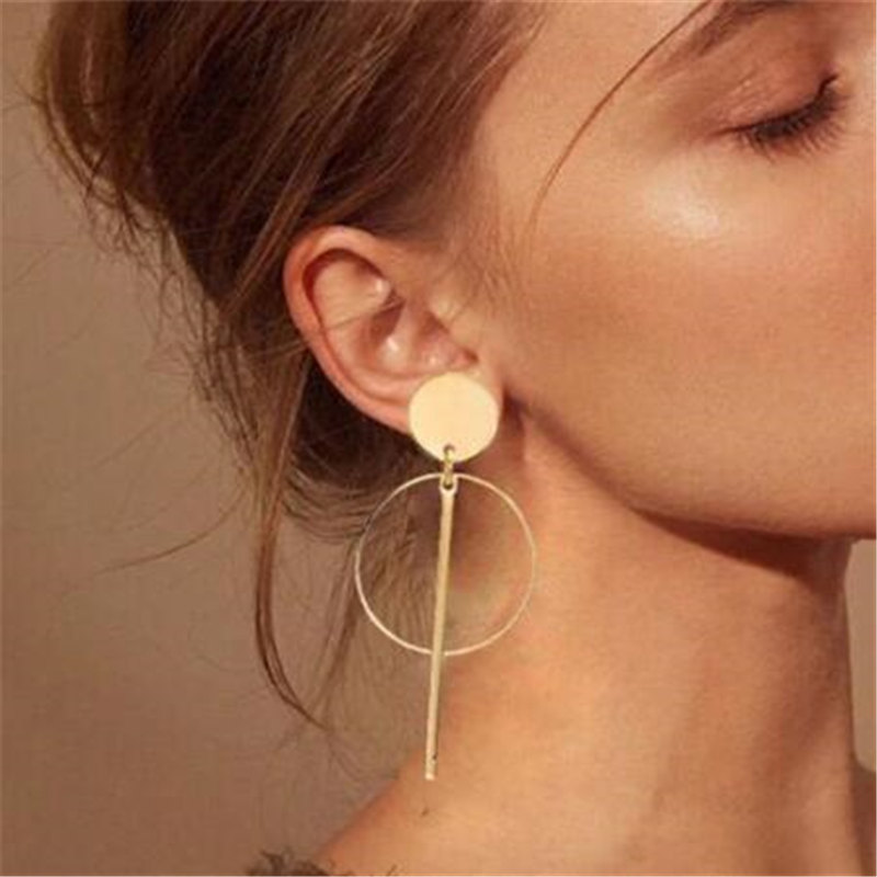 New Vintage Drop Earrings For Women Gold / Silver Color round Big Geometric Earrings 2019 Fashion Earring Jewelry gift