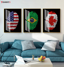 Fingerprint Map Posters Prints Countries Canvas Painting On The Wall For Living Room Bedroom America Russia Design Picture Decor фреска the whole room room america syz003a