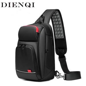 Image 2 - Dienqi黒胸バッグ男性のためのpvc防水スリングバッグミニ旅行スクールクロスボディバッグマルチポケットジップ個人ポケットバッグ