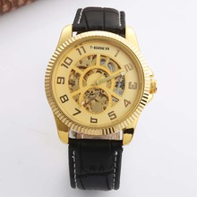 Gold Luxury Mechanical Watch Men's Skeleton Wristwatch Man Watches Leather Relogio Masculino Fashion Casual Men Watches стоимость