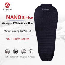 AEGISMAX NANO 700FP Goose Down Sleeping Bag Ultralight Mummy Outdoor Camping 41℉~50℉ Waterproof Splicing Winter Sleeping Bag