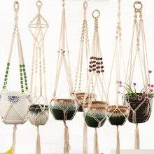 Горячая Распродажа ручной работы Подвеска для растений из макраме цветок/горшок вешалка для украшения стен сад