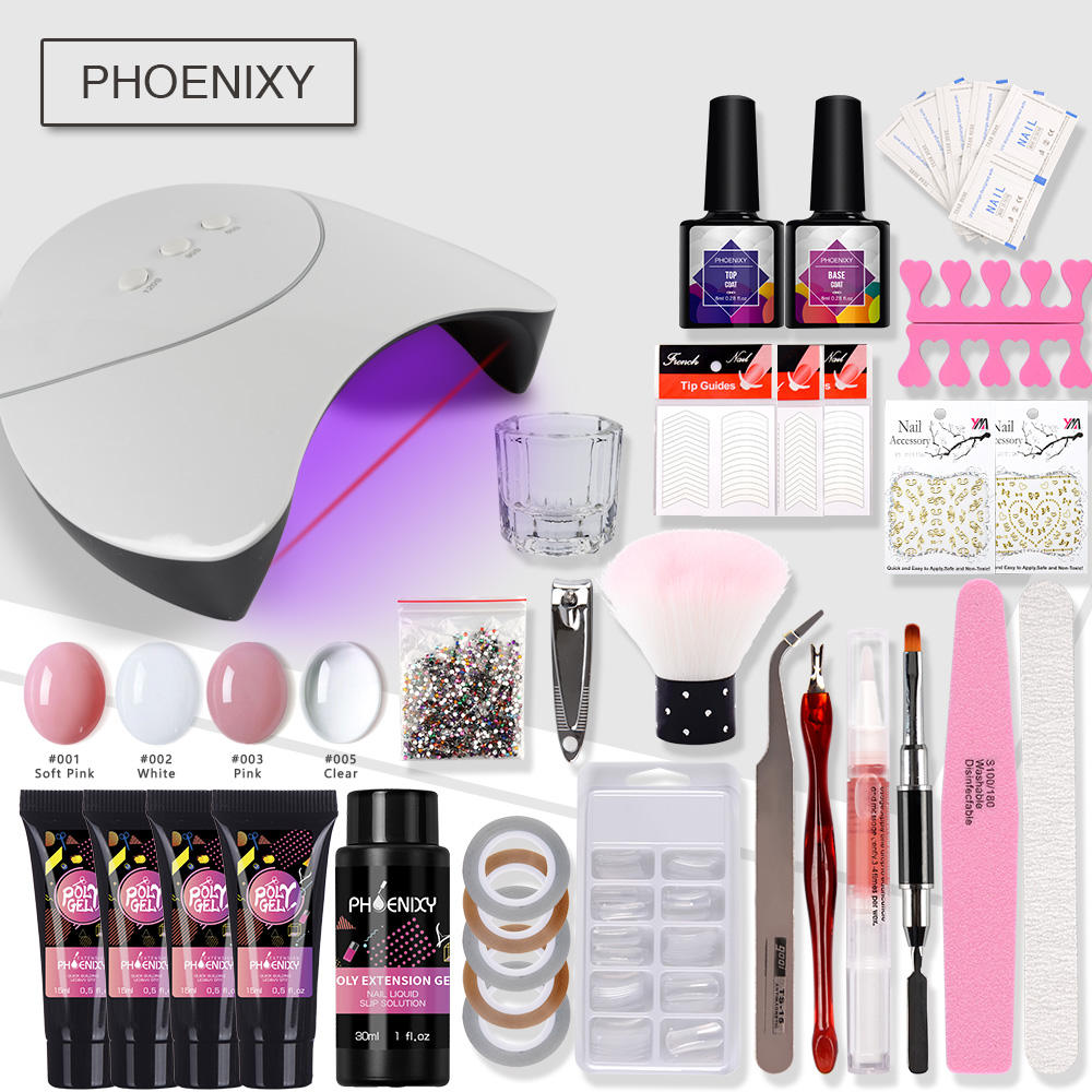 Complete Polygel Nail Kit With 36w UV LED Lamp Hard Jelly Gel Nail Art Tools Extension Gel Kit Professional Manicure Set