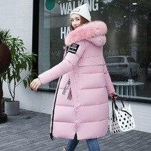 冬の女性のダウンパーカー冬の毛皮の厚さのスリムロングコートファッションジッパーフード付き女性ロング上着 Y64