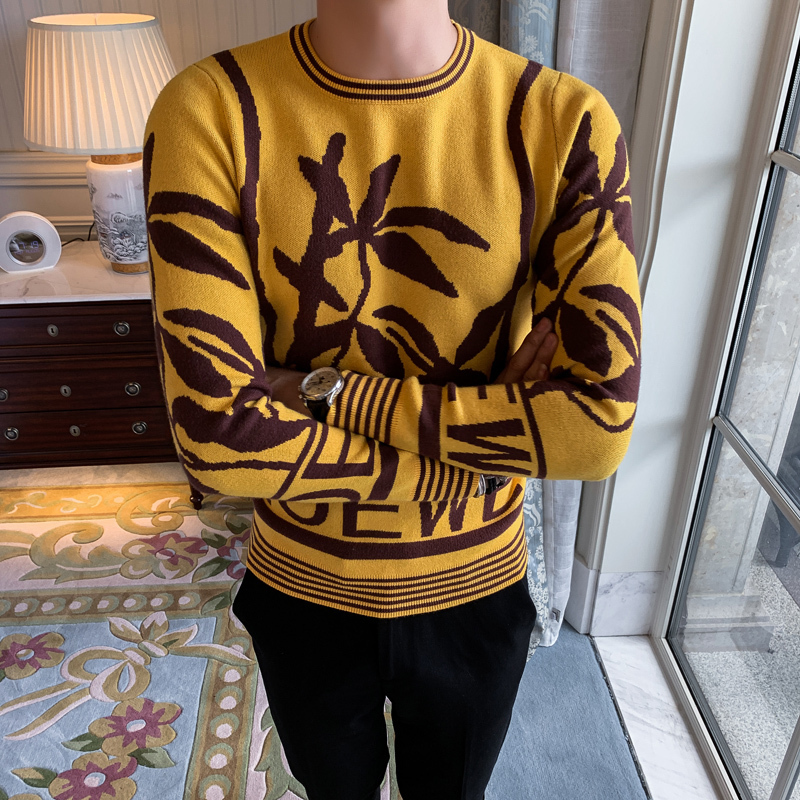 Flower Sweater Trui Heren Blusa Masculina Male Round Neck Long Sleeve Rendering Knitting Garment Self-cultivation Yellow Hit