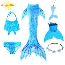 AngelGirl 2020 fantezi Mermaid kuyruk Cosplay kostüm 6 adet kız çocuk çocuk doğum günü tatil hediye yüzme Bikini seti mayo