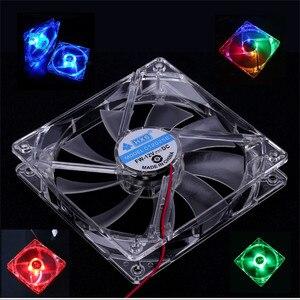 Cooling Fan PC Computer Fan Quad 4 LED Light 120mm PC Computer Case Cooling Fan Mod Quiet Molex Connector Easy Installed Fan 12V(China)
