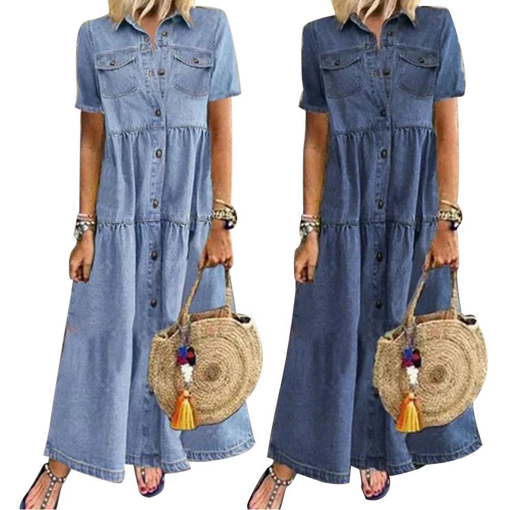 Retro Women Short Sleeve Turn Down Collar Dress Pockets Buttons Single-breasted Long Loose Denim Dress for Summer