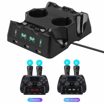 For PS4 PS Move VR PSVR Joystick Gamepads 4 in 1 Controller Charging Dock Charger Stand For PS VR Move PS 4 Games Accessories ps4 controller 4 in 1 fast charger dock station stand for playstation 4 slim pro ps vr ps move gamepad with led light