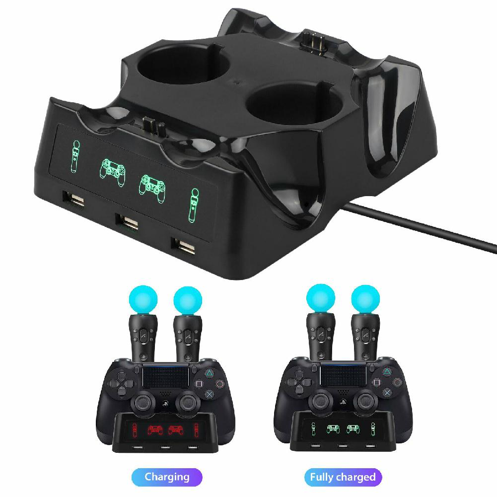For PS4 PS Move VR PSVR Joystick Gamepads 4 in 1 Controller Charging Dock Charger Stand For PS VR Move PS 4 Games Accessories image