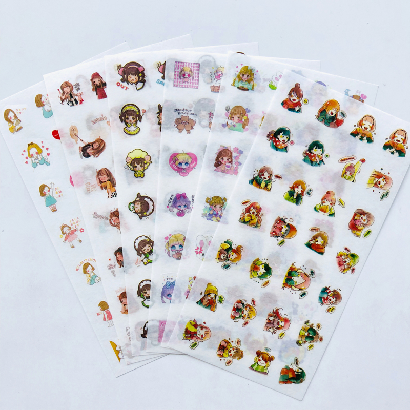6 Sheets Lovely Little Girl Doll Washi Paper Decorative Stickers Label Stick Decoration
