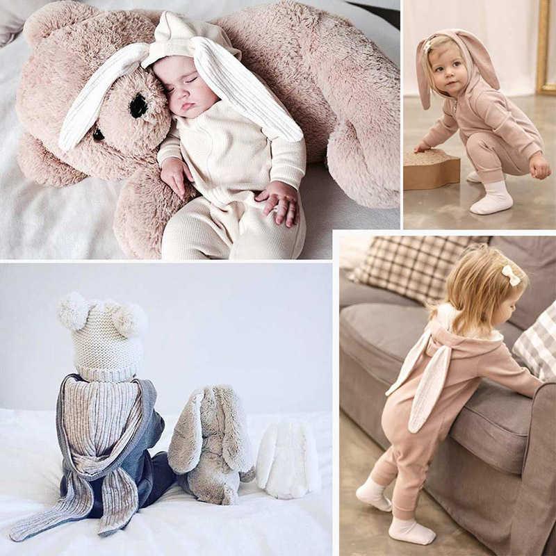ملابس قطنية للأطفال حديثي الولادة جامب سوت مناسب للربيع والخريف للأطفال جامب سوت لطيف بقلنسوة على شكل أرنب ملابس خارجية للأطفال من عمر 0-18 شهرًا
