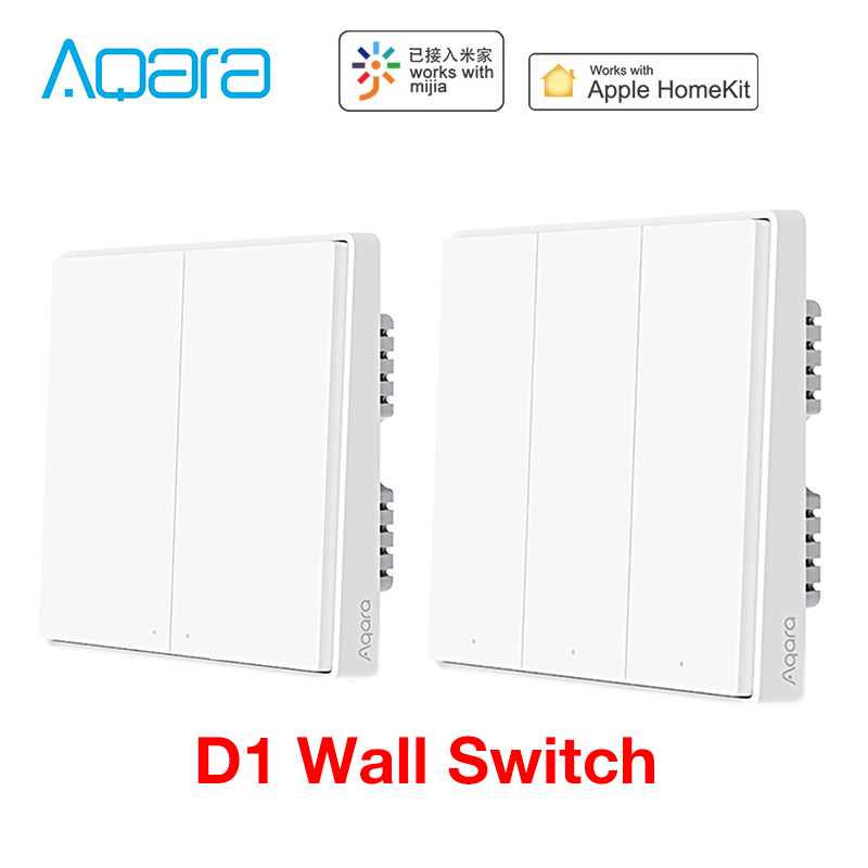 Aqara D1 Wall Switch Zigbee Smart Zero Line Fire Wire Light Remote Control Wireless Key WiFi Switches No Neutral For MI Homekit