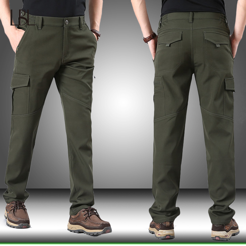 Mens Winter Pants Thick Warm Cargo Pants Men Casual Fleece Tactical Pants Army Male Camo Jogger Military Style Trousers Plus 4XL