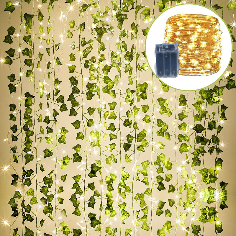 12 Pack Green Artificial Ivy Garland Plants Vine Hanging with led String Light for Home Kitchen Garden Office Wedding Wall Decor