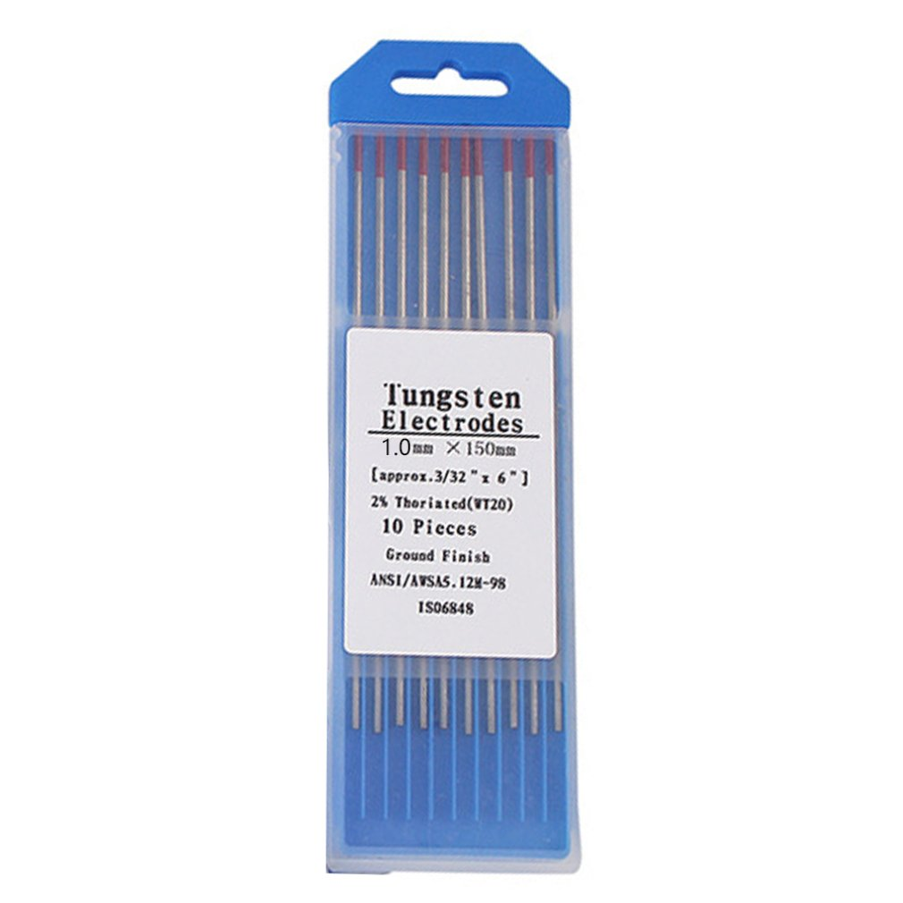 10pcs/Box WT20 Red Color 1.0*150 Thorium Tungsten Electrode Head Tungsten Needle/rod For Welding Machine