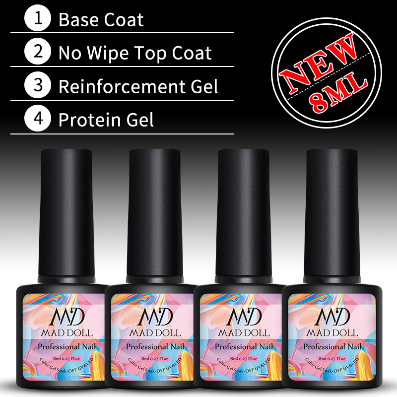 MAD DOLL Base And Top Coat Gel Nail Polish 8ml Soak Off Gel Lacque No Wipe Top Coat Opal Jelly Nail Art Gel Varnish Manicur