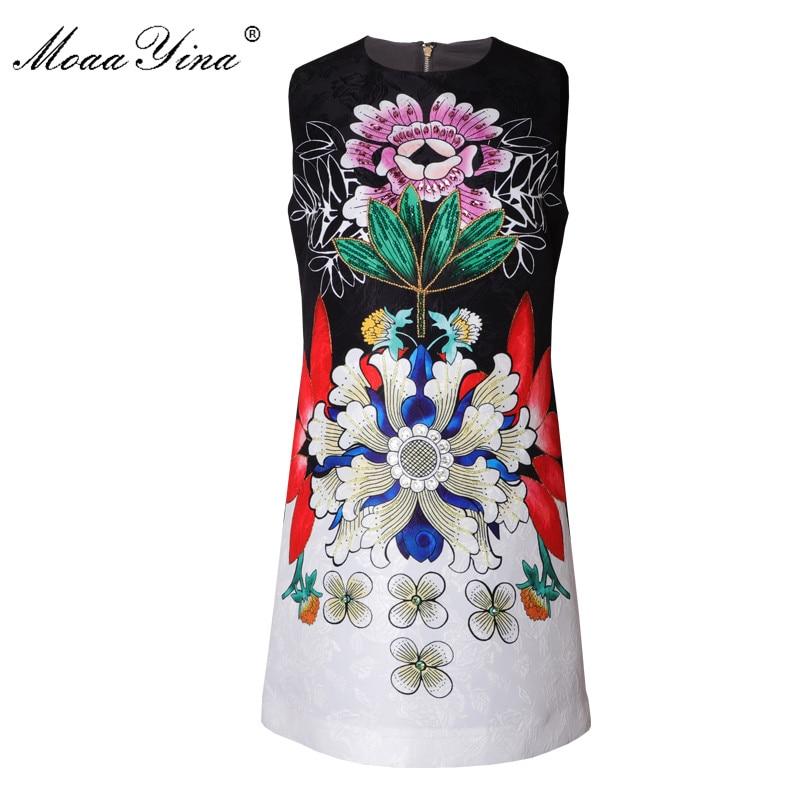 MoaaYina créateur de mode robe de piste été femmes robe sans manches Vintage impression perles robes de diamant