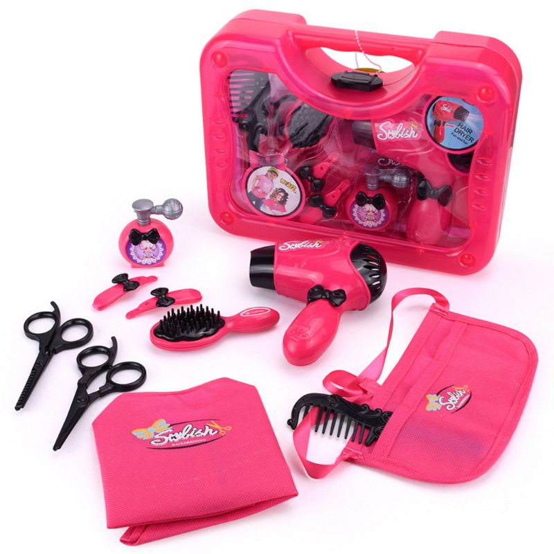 Kids Hair Salon Kit Girl Pretend Play Hairdressing Simulation Toy For Toddler E65D