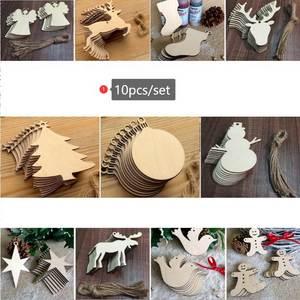 DHL 500set 10pcs/set Wooden Christmas Decorations Mini Tree Ornaments Santa Claus Snowman Deer Xmas Party Craft Decoration