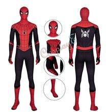 Костюм Человека-паука Человек-паук: вдали от дома косплей Питер Паркер мужской красный наряд на Хэллоуин