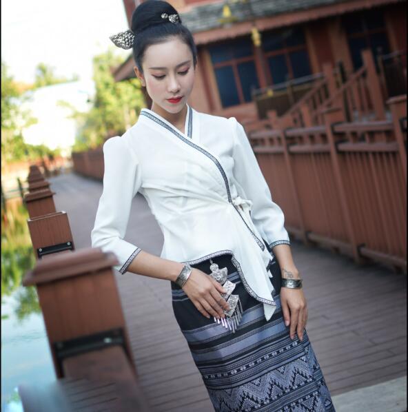 Thailand Yunnan  Ethnic minority Dai Clothing  Festival Jacket + Skirt Thai Race Fashion Summer Air-permeable Slim Casual Dress 1