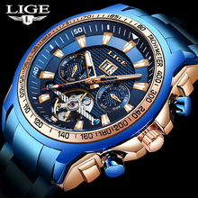 LIGE Men Automatic Tourbillon Watches Skeleton Mechanical
