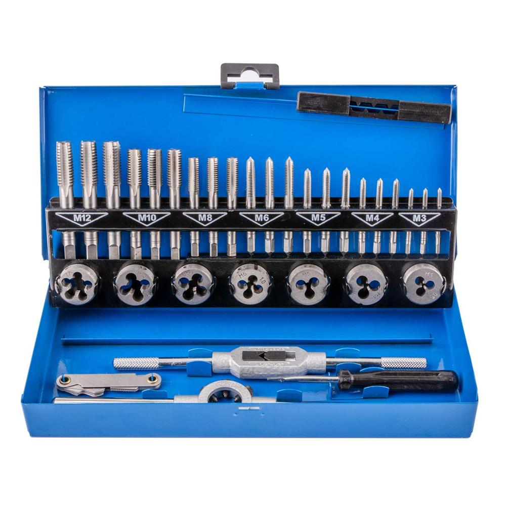 32 Pieces Tungsten Alloy Steel Metric Tap And Dies Set Screw Threads Cutting Tools Taper Drill Threading Kit With Metal Case