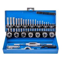 Cutting-Tools Dies-Set Screw Taper-Drill Threading-Kit Metric Tap Metal-Case Steel 32pieces