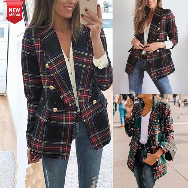 Vintage Double Breasted Frayed Checked Tweed Blazers Coat Women 2019 Fashion Pockets Plaid Ladies Outerwear Casual Fashion Femme